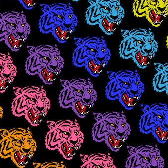 Patroon met boze neon hoofden wilde tijger