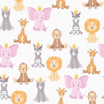 Patroon met cartoon wilde afrikaanse veelkleurige dieren.