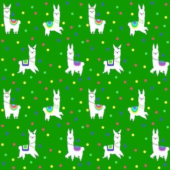 Patroon met de afbeelding van verschillende lama's in gekleurde kostuums en een feestelijke decoratie. vector