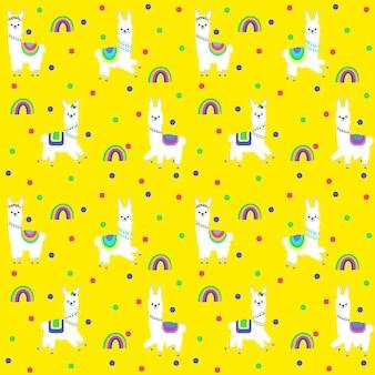 Patroon met de afbeelding van verschillende lama's in gekleurde kostuums en een feestelijke decoratie