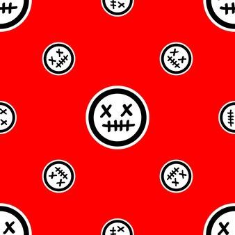 Patroon met dode gezichtemoji's op rode achtergrond