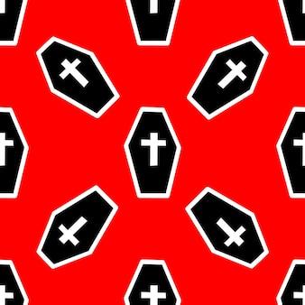 Patroon met doodskisten en kruisen op een rode achtergrond