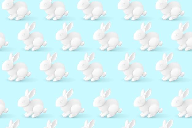 Patroon met een realistisch wit konijn. paashaas.