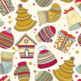 Patroon met elementen van kerstmis. kan worden gebruikt als bureaubladachtergrond of frame voor aan de muur of poster, voor opvulpatronen, oppervlaktestructuren, webpagina-achtergronden, textiel en meer.