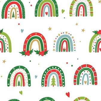 Patroon met feestelijke regenbogen kerst regenboog vector babyillustratie nieuwjaar en kerstmis
