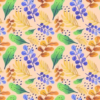 Patroon met gradiënt abstracte bladeren Gratis Vector