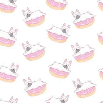 Patroon met grappige pug en doughnut.