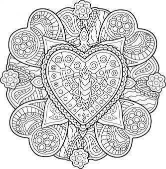 Patroon met harten voor het kleuren van boekenpagina