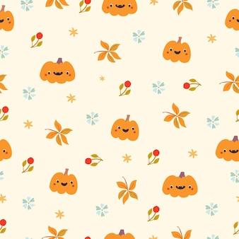 Patroon met herfstpompoenen