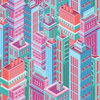 Patroon met hoge isometrische stadsgebouwen, wolkenkrabbers of torens van moderne megalopolis
