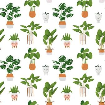 Patroon met kamerplanten in potten kawaii bloempotten vectorillustratie in cartoon-stijl