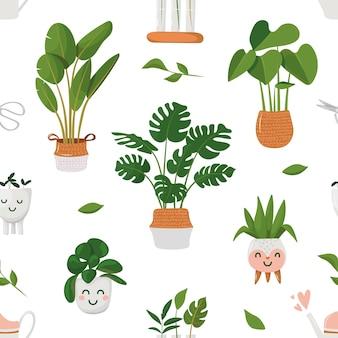Patroon met kamerplanten in potten kawaii bloempotten