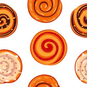 Patroon met kaneelbroodjes, jam en glazuur. bakkerijproduct. cartoon stijl.