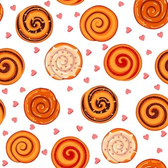 Patroon met kaneelbroodjes, jam en glazuur. illustratie in cartoon-stijl. Premium Vector