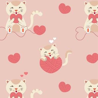 Patroon met katten en harten