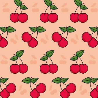 Patroon met kersen kleurrijk ontwerp