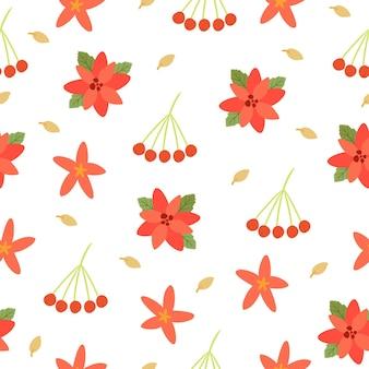 Patroon met kerstbloemen en bessen