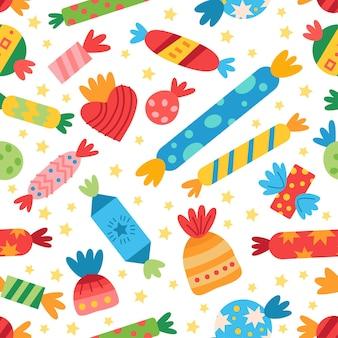 Patroon met kleurrijke snoepjes snoep. voor verjaardagsfeestje