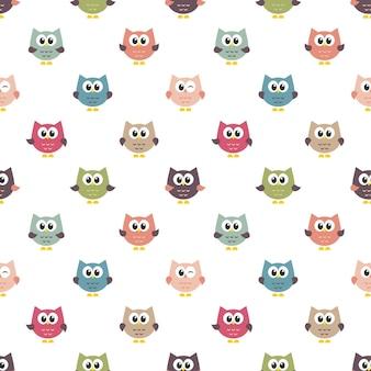 Patroon met kleurrijke uilen
