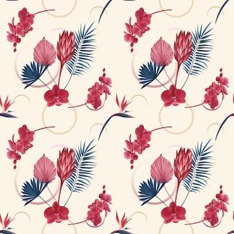 Patroon met pampa's bloemenwaterverf