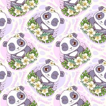 Patroon met portret van een babypanda met tropische bladeren en bloemen.