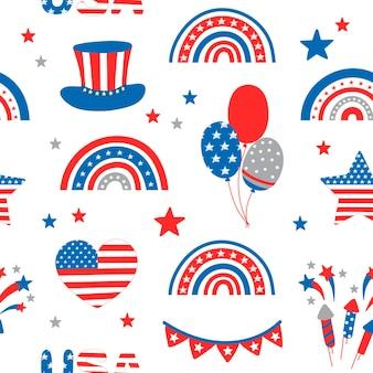 Patroon met regenbogen onafhankelijkheidsdag van de vs 4 juli