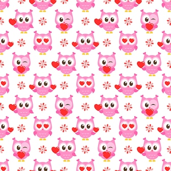 Patroon met roze uilen en harten