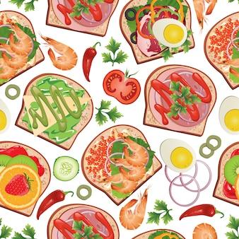 Patroon met sandwiches en eten.