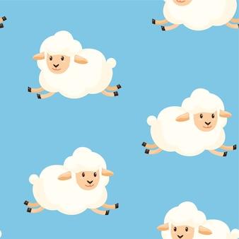 Patroon met schapen op een veld naadloze textuur