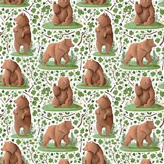 Patroon met schattige beren in het bos.