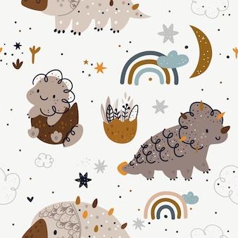 Patroon met schattige dinosaurussen, regenbogen, maan, sterren.