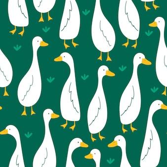 Patroon met schattige gans op groene achtergrond vectorillustratie in vlakke stijl