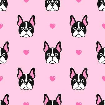 Patroon met schattige honden en harten