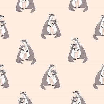Patroon met schattige knuffelen dassen met gesloten ogen op roze achtergrond.