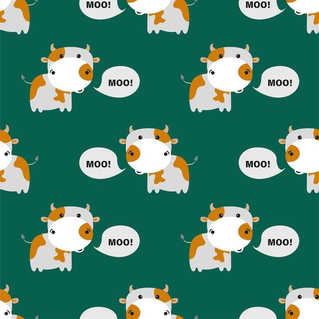 Patroon met schattige koeien. vectorillustratie.