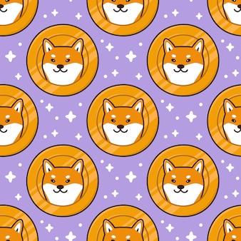Patroon met schattige shiba inu hondenkop op een munt