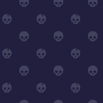 Patroon met schedels, donkere naadloze achtergrond, vector
