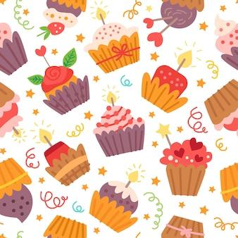 Patroon met snoep cupcakes. voor verjaardagsfeestje