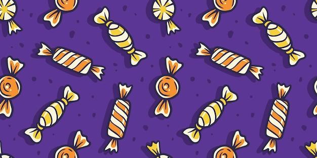 Patroon met snoep en snoep voor vakantieontwerp