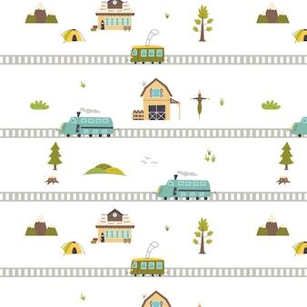 Patroon met spoorweg, trein, boerderij. kwekerij digitaal papier, vector hand getekende illustratie