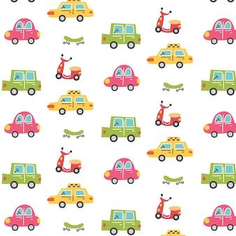 Patroon met stadsauto's, taxi, scooter en skateboard. kwekerij digitaal papier, vector hand getekende illustratie