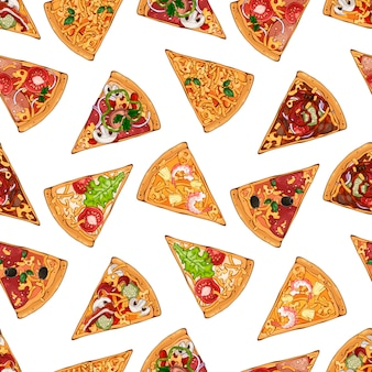 Patroon met stukjes pizza van verschillende recepten. Premium Vector