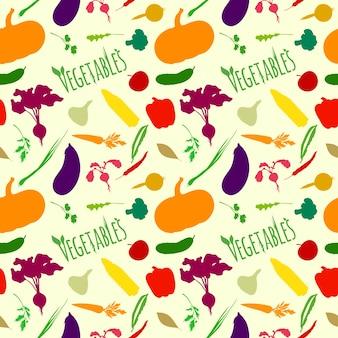 Patroon met vegetarisch voedsel