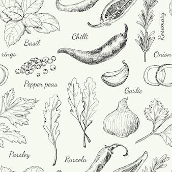 Patroon met verschillende kruiden
