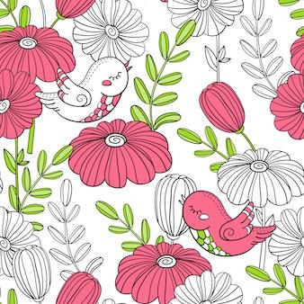 Patroon met vogels en bloemen.