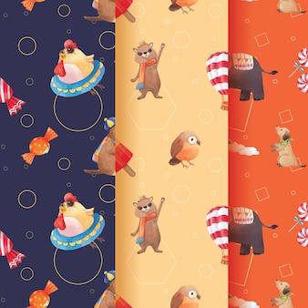 Patroon met vrolijke dieren concept aquarel illustratie