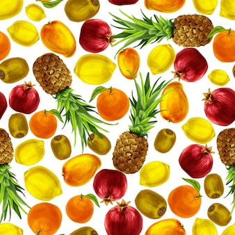 Patroon met waterverf vruchten