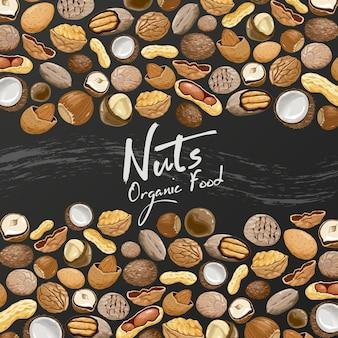 Patroon met zaden en noten op een zwarte achtergrond