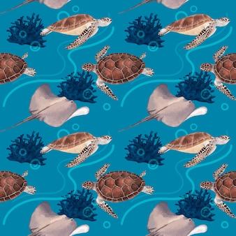 Patroon met zee leven conceptontwerp aquarel illustratie