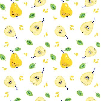 Patroon met zoete gele peren met bladeren
